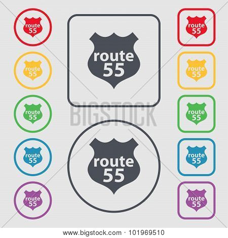 Route 55 Highway Icon Sign. Symbols On The Round And Square Buttons With Frame. Vector