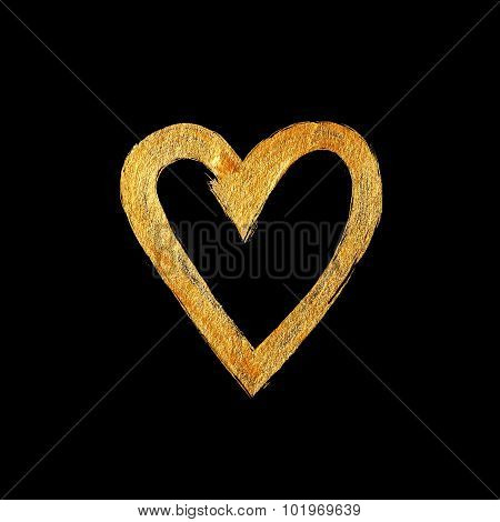 Heart Love Gold Foil Watercolor Texture Paint Stain Abstract Illustration. Shining Brush Stroke For