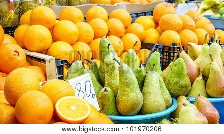 Fresh fruit at a farmers market in Pyatigorsk, Russia
