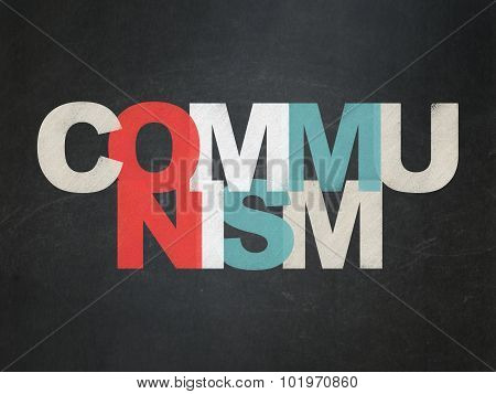 Political concept: Communism on School Board background