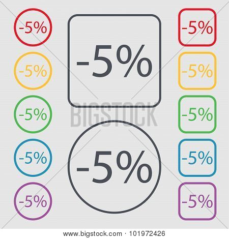5 Percent Discount Sign Icon. Sale Symbol. Special Offer Label. Symbols On The Round And Square Butt