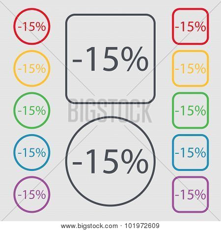 15 Percent Discount Sign Icon. Sale Symbol. Special Offer Label. Symbols On The Round And Square But
