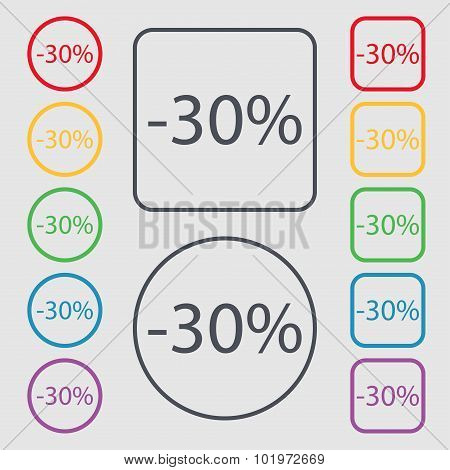 30 Percent Discount Sign Icon. Sale Symbol. Special Offer Label. Symbols On The Round And Square But