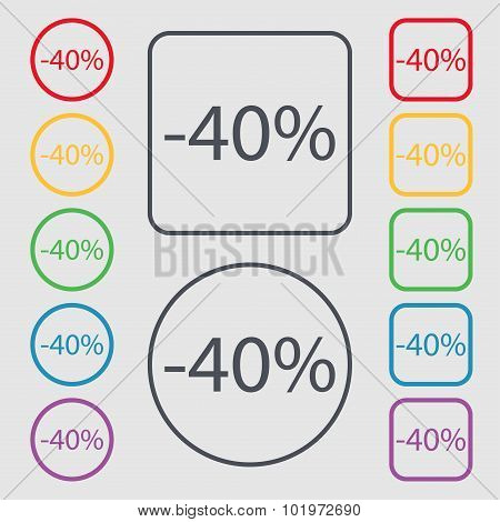 40 Percent Discount Sign Icon. Sale Symbol. Special Offer Label. Symbols On The Round And Square But