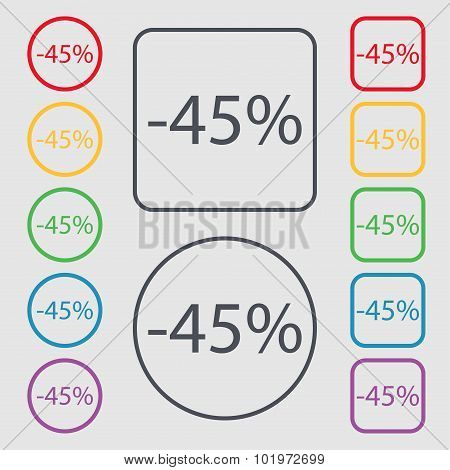 45 Percent Discount Sign Icon. Sale Symbol. Special Offer Label. Symbols On The Round And Square But