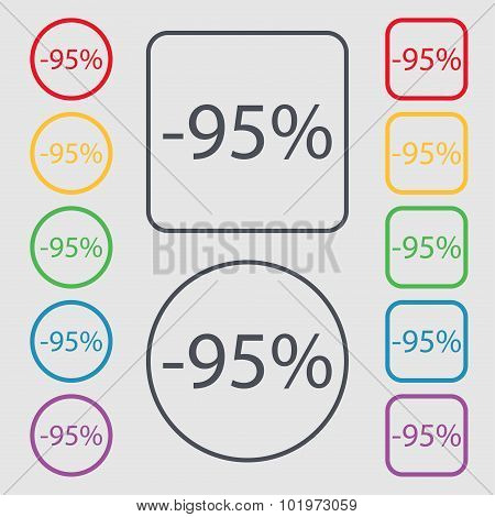 95 Percent Discount Sign Icon. Sale Symbol. Special Offer Label. Symbols On The Round And Square But