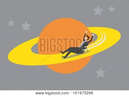 Businessman Playground In Outer Space