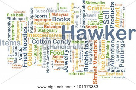 Background concept wordcloud illustration of hawker