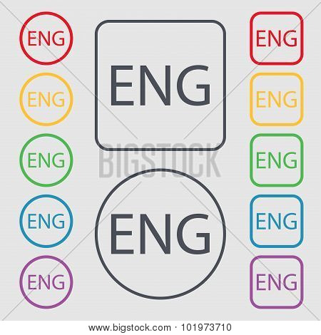 English Sign Icon. Great Britain Symbol. Symbols On The Round And Square Buttons With Frame. Vector