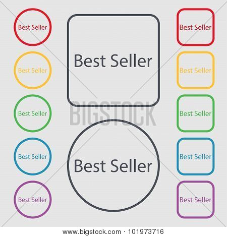 Best Seller Sign Icon. Best-seller Award Symbol. Symbols On The Round And Square Buttons With Frame.