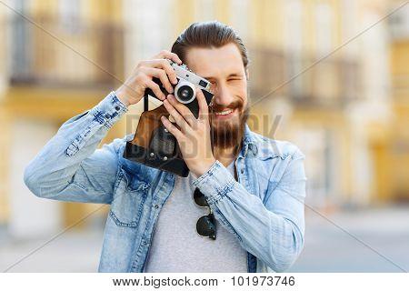 Nice tourists making photos