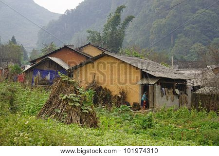 Hmong Village Between The Rice Fields In Sapa