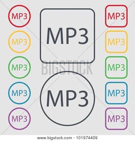 Mp3 Music Format Sign Icon. Musical Symbol. Symbols On The Round And Square Buttons With Frame. Vect
