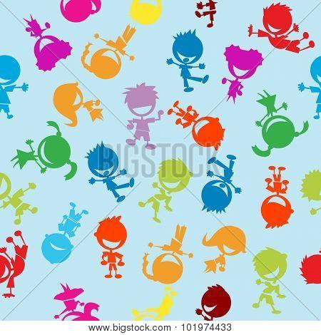 colorful kids seamless pattern