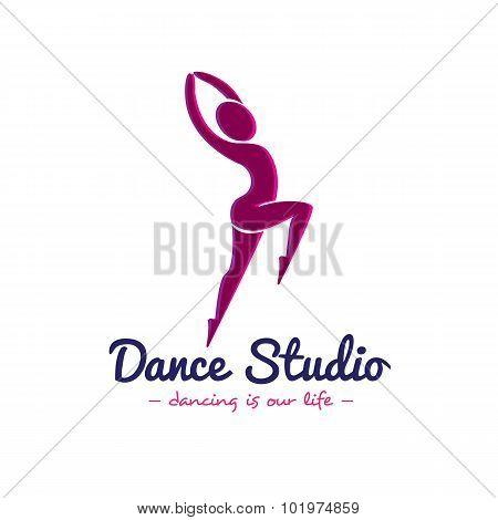 Vector dance studio logo. Dancer logotype