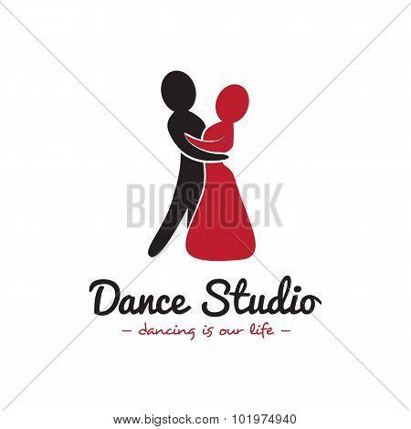 Vector dance studio logo. Dancing couple logotype