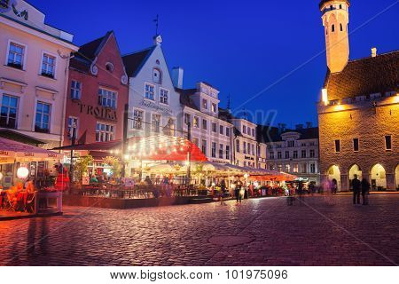 Town hall square in Tallinn at night
