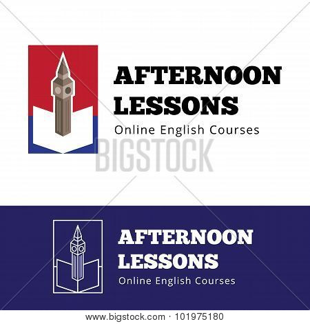 Vector english courses logo concept with big ben and open book.