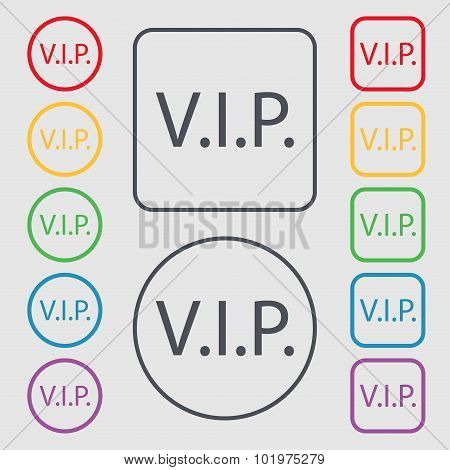 Vip Sign Icon. Membership Symbol. Very Important Person. Symbols On The Round And Square Buttons Wit