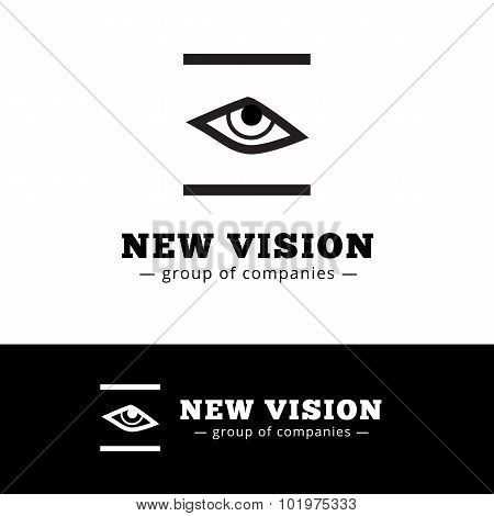 Vector minimalistic black and white eye logo. Eye logotype.