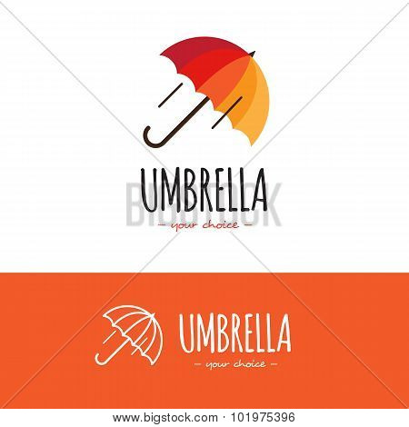 Vecto colorful orange and red umbrella logo. Cute logotype