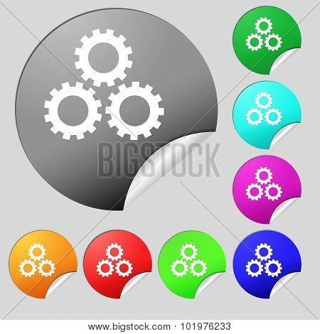 Cog Settings Sign Icon. Cogwheel Gear Mechanism Symbol. Set Of Eight Multi Colored Round Buttons, St