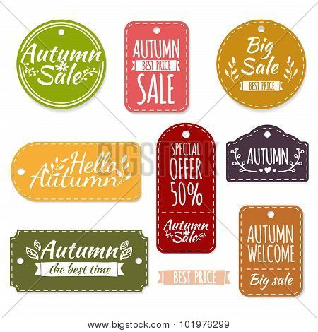 Set of colored autumn stickers, labels, labels, coupons. Spring discounts, promotions, offers. Vecto