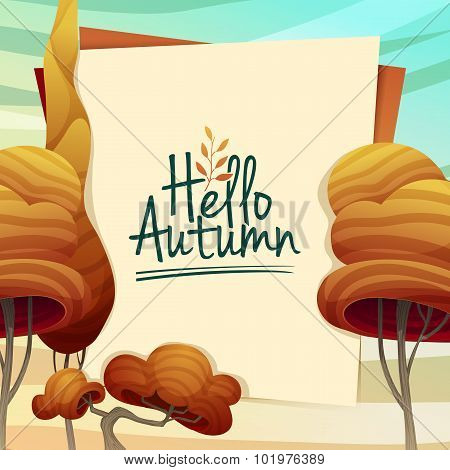 Template Design autumn poster, brochures, posters, postcards Hello autumn. Frame with autumn trees i