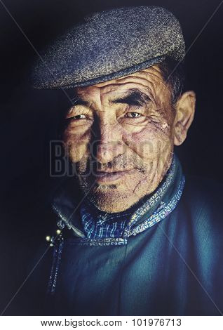 Mongolian Man in Traditional Dress Concept