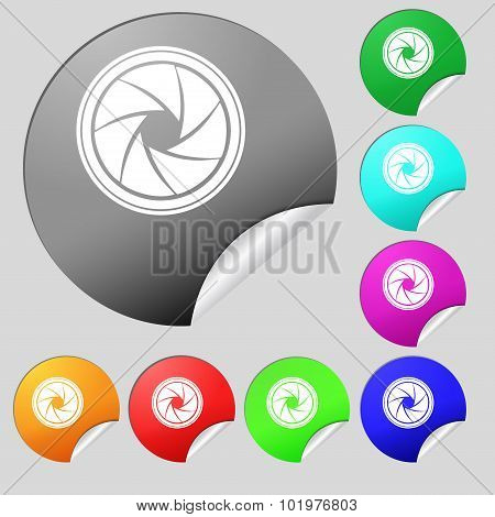 Diaphragm Icon. Aperture Sign. Set Of Eight Multi Colored Round Buttons, Stickers. Vector