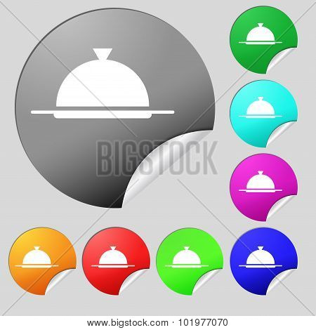 Food Platter Serving Sign Icon. Table Setting In Restaurant Symbol. Set Of Eight Multi Colored Round
