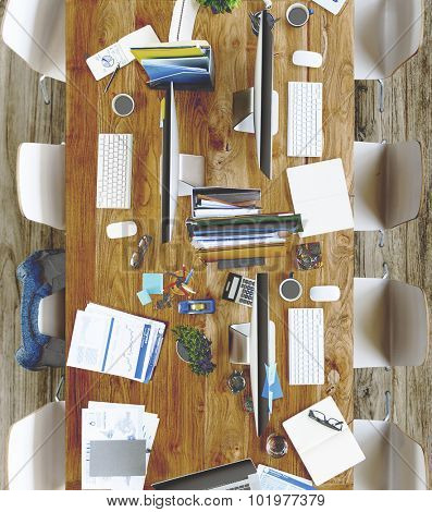 Messy Modern Office with No People Concept