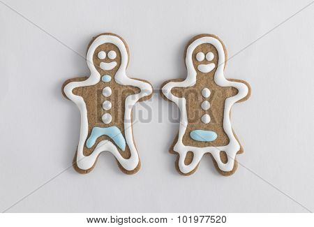 Husband and wife gingerbread cookies fresh from the oven