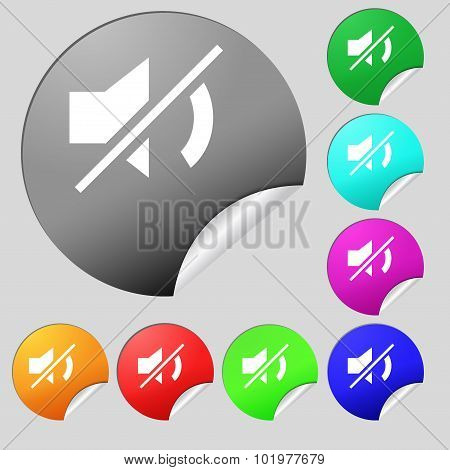 Mute Speaker Sign Icon. Sound Symbol. Set Of Eight Multi Colored Round Buttons, Stickers. Vector