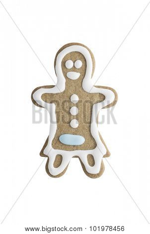 Gingerbread cookie woman isolated on white background - shot in studio