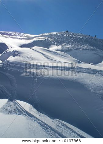 Powder Snow And Ski Trails With Blue Skies