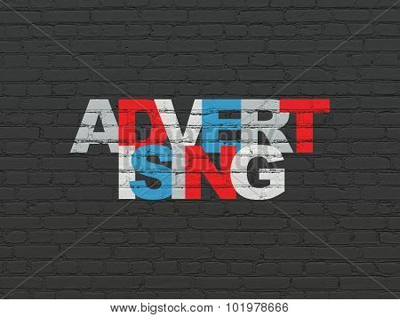 Marketing concept: Advertising on wall background