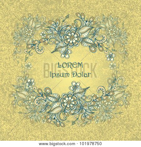 Border frame with doodle flowers and grunge effect  in beige  marine blue
