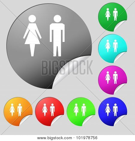Wc Sign Icon. Toilet Symbol. Male And Female Toilet. Set Of Eight Multi Colored Round Buttons, Stick