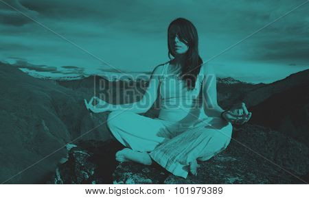 Woman Sitting Meditating Mountain Range Concept