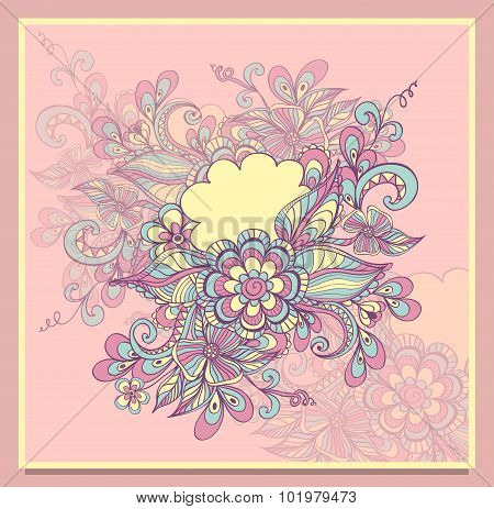 Doodle flowers frame with cloud in pink lilac blue yellow