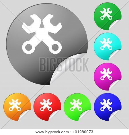 Wrench Key Sign Icon. Service Tool Symbol. Set Of Eight Multi Colored Round Buttons, Stickers. Vecto