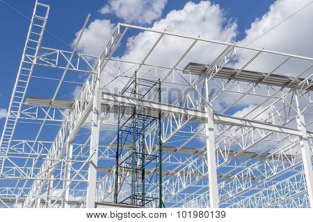 Steel Structure With Sky Background / Steel Structure / Steel Structure Under Construction With Blue