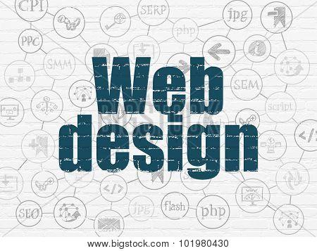 Web development concept: Web Design on wall background