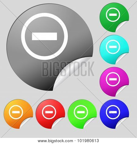 Minus Sign Icon. Negative Symbol. Zoom Out. Set Of Eight Multi Colored Round Buttons, Stickers. Vect