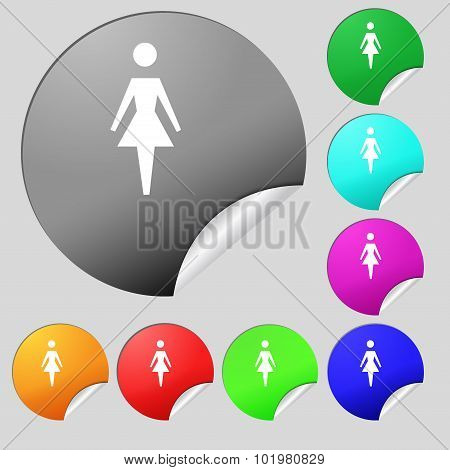 Female Sign Icon. Woman Human Symbol. Women Toilet. Set Of Eight Multi Colored Round Buttons, Sticke