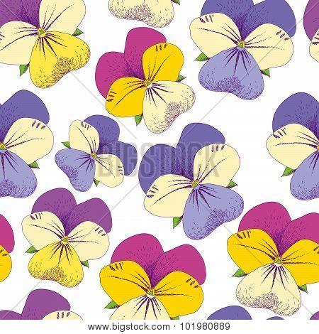 Seamless pansy pattern