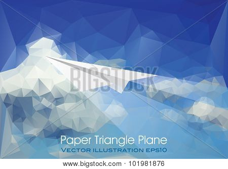 vector abstract background with paper plane over paper sky and clouds, low poly