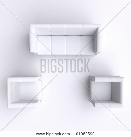 Sofa And Two Chairs. Top View. 3D Illustration.