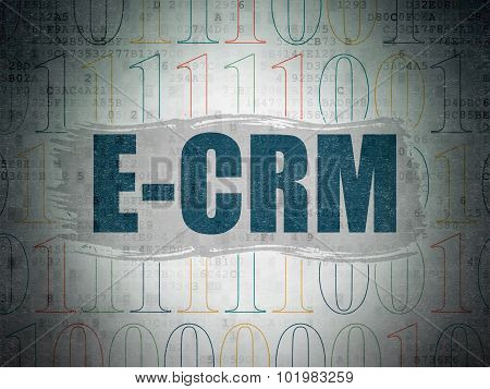 Business concept: E-CRM on Digital Paper background
